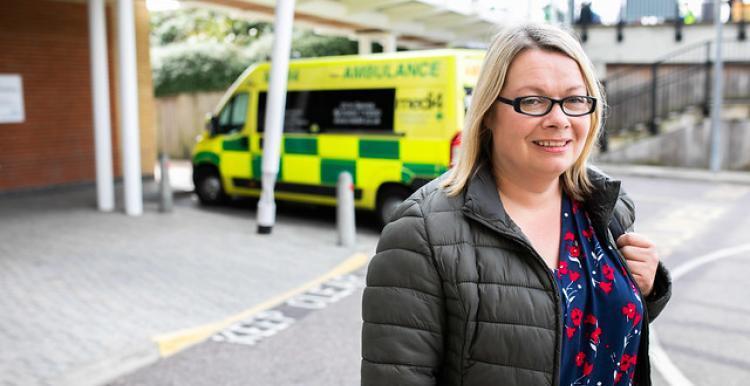 woman outside hospital