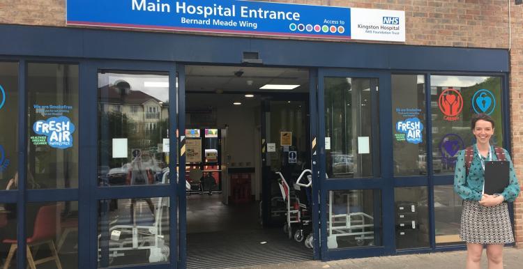 Healthwatch staff outside Kingston Hospital