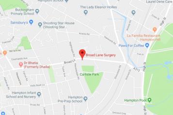 Pin showing Broad Lane Surgery on map
