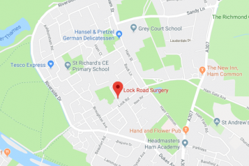 Pin showing Lock Road Surgery on map