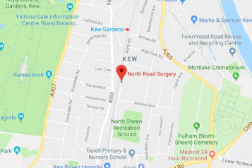 Pin showing North Road Surgery on map