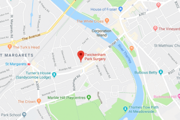 Pin showing Twickenham Park Surgery on map