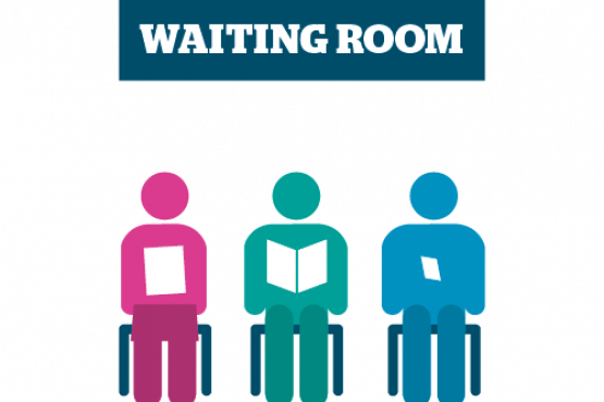 3 stickmen seated in waiting room