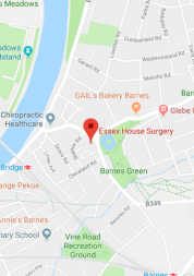 Pin showing Essex House Surgery on map