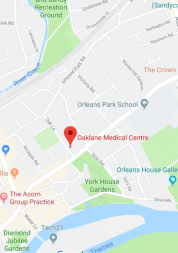 Pin showing Oak Lan Medical Centre on map