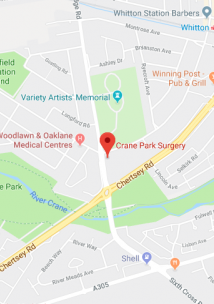 Pin showing Crane Park Surgery on map