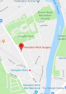 Pin showing Hampton Wick Surgery on map