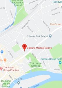 Pin showing Oak Lan Medical Centre on map
