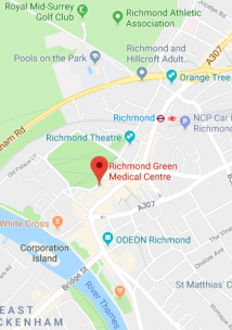 Pin showing Richmond Green Medical Centre on map