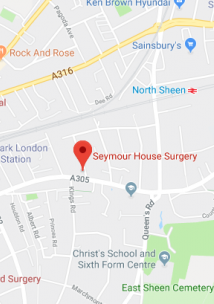 Pin showing Seymour House Surgery on map