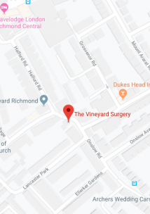 map showing location of Vineyard Surgery
