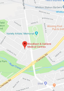 Pin showing Woodlawn Medical Centre on map